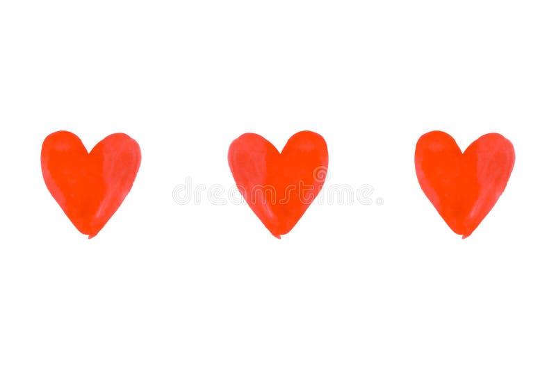 Corações vermelhos pintados tirados mão da aquarela três fotografia de stock royalty free