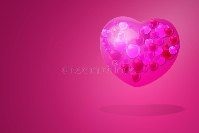 Corações Vermelhos sobre fundo vermelho Conceito de Dia dos Namorados imagens de stock royalty free