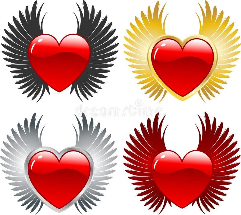 Corações voados ilustração royalty free