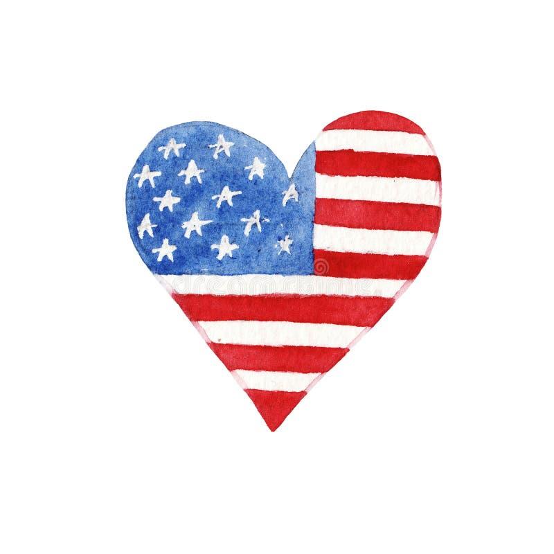 Cora??o da aquarela com bandeira americana ilustração royalty free