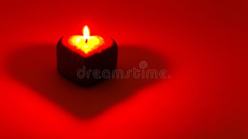 Cora??o no fundo vermelho Uma vela iluminada na forma de um cora??o placa para cart?o Cart?o no dia das mulheres felizes, imagens de stock royalty free