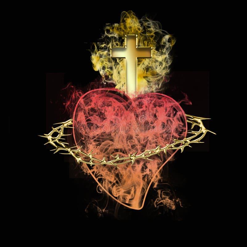 Cora??o sagrado de Jesus S?mbolo crist?o ilustração do vetor