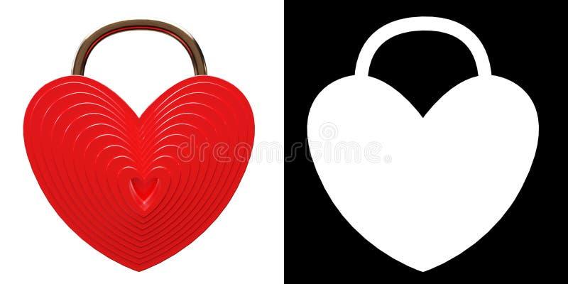 Cora??o vermelho cadeado dado forma ilustração stock