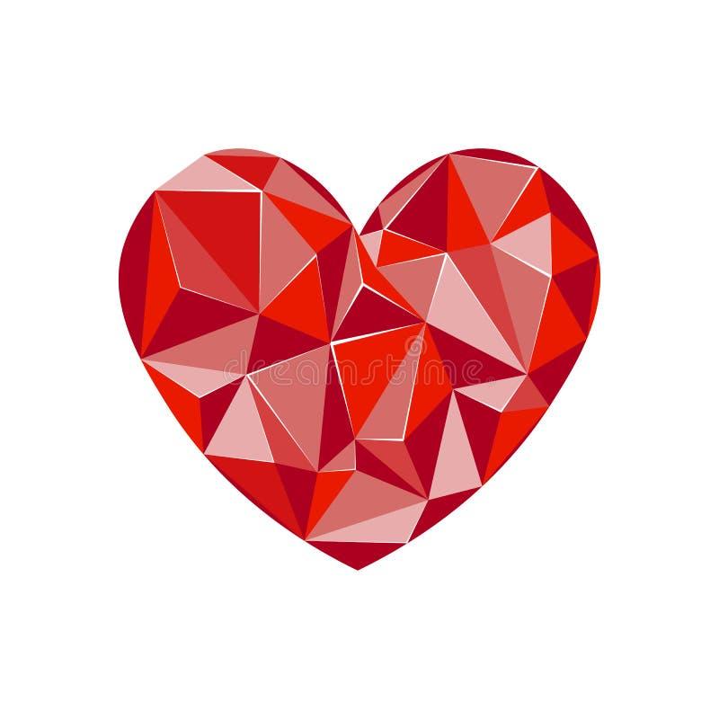 Cora??o vermelho do diamante Forma do cora??o do diamante, formato do vetor para o Valentim ou conceito do casamento ilustração stock
