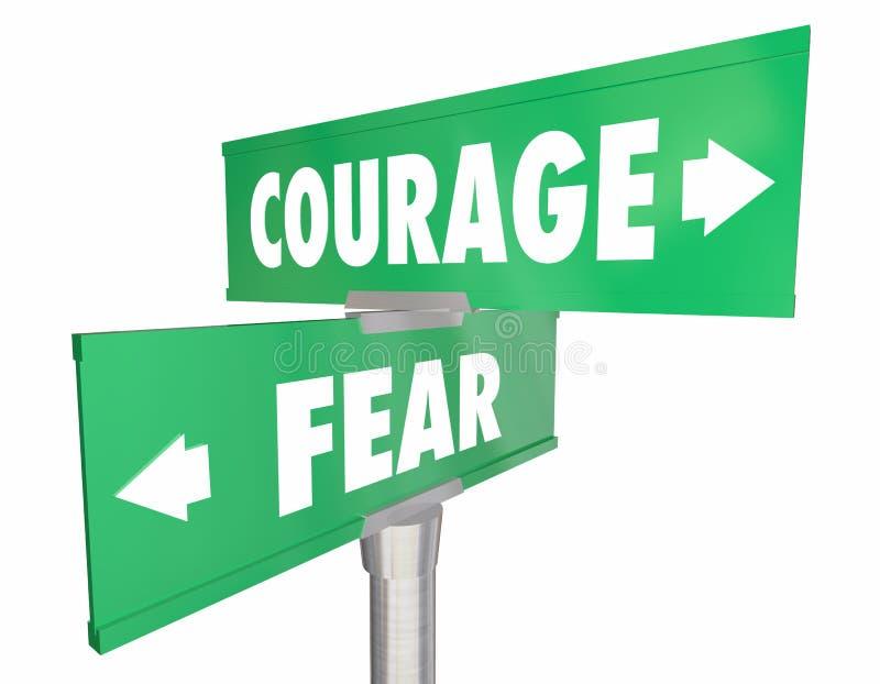 Coragem contra sinais de estrada da rua em dois sentidos do medo 2 ilustração do vetor