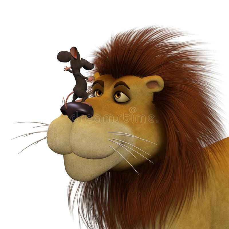 Coragem, ratos dos desenhos animados 3d com um leão ilustração stock
