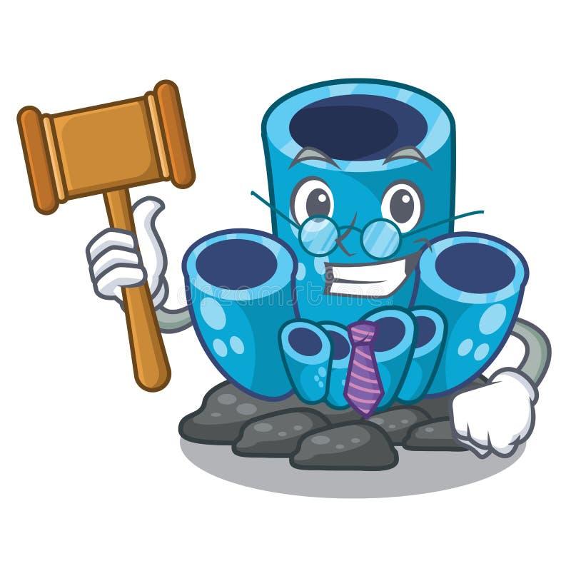 Corail bleu d'éponge de juge sous la bande dessinée de mer illustration libre de droits