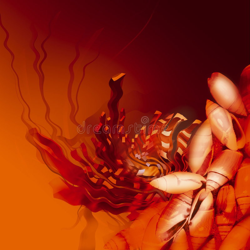 Orange color underwater abstract illustration royalty free stock image