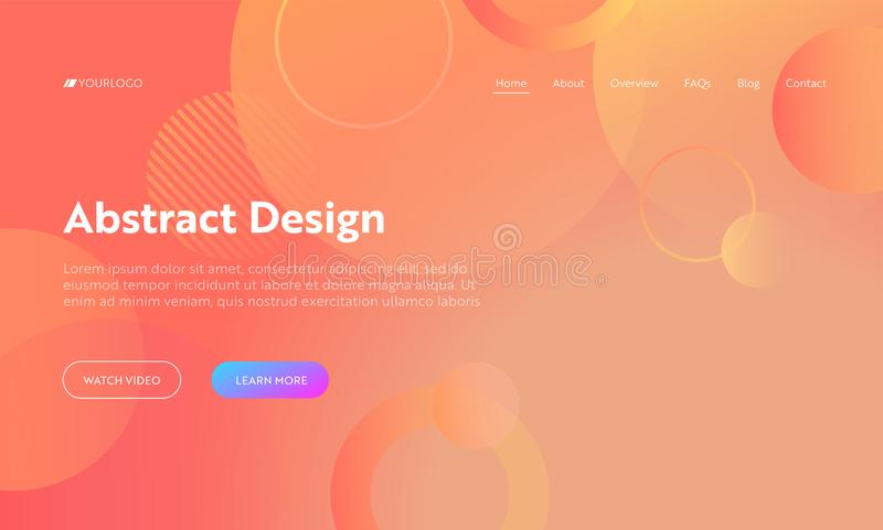 Coral Abstract Circle Shape Landing Page Background. Orange Digital Round Motion Gradient Pattern. Dynamic Light Flat Template royalty free illustration