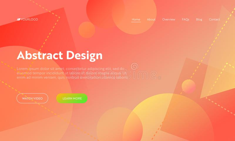 Coral Abstract Geometric Circle Shape Landing Page Background. Orange Digital Square Graphic Gradient Pattern. Dynamic vector illustration