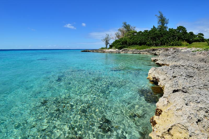 Coral beaches in Cuba. Coral beaches and turquoise water on the wild noon coast of Cuba stock photos