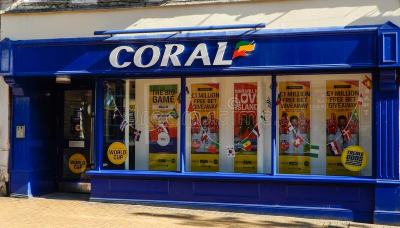 Coral Bookmakers Frontage fotografia de stock