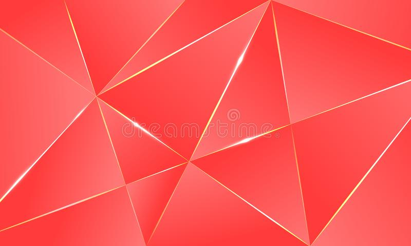 Coral color premium background polygonal pattern. Coral color premium background with luxury polygonal pattern and gold triangle lines. Low poly gradient shapes stock illustration
