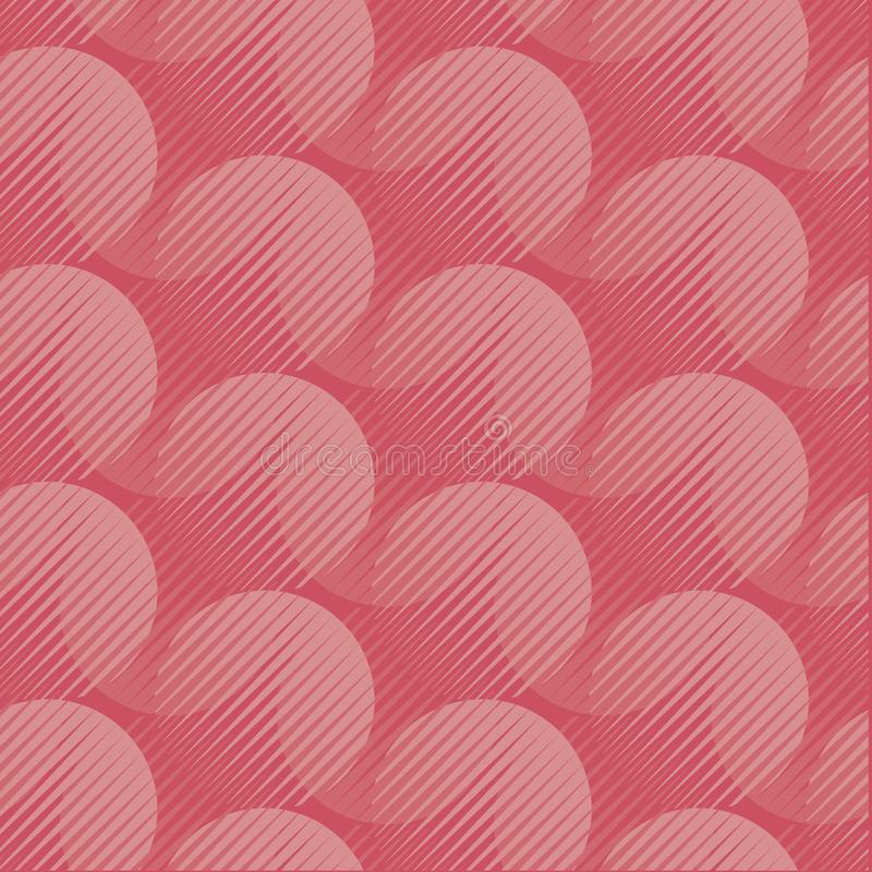 Coral color round shape 60s style tracery. Ð¡oral pink color abstract background pattern. Geometric seamless motif with shades of trendy pastel red. Vector vector illustration