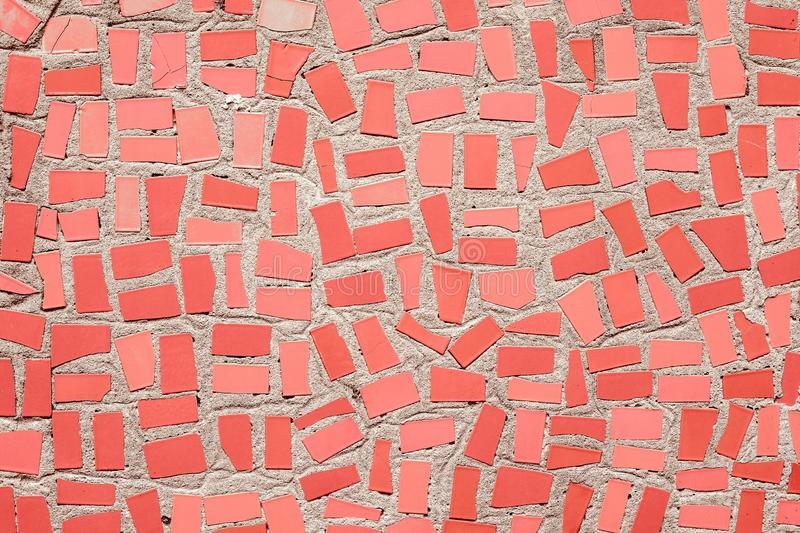 coral colored mosaic ceramic tiles neutral background stock photos