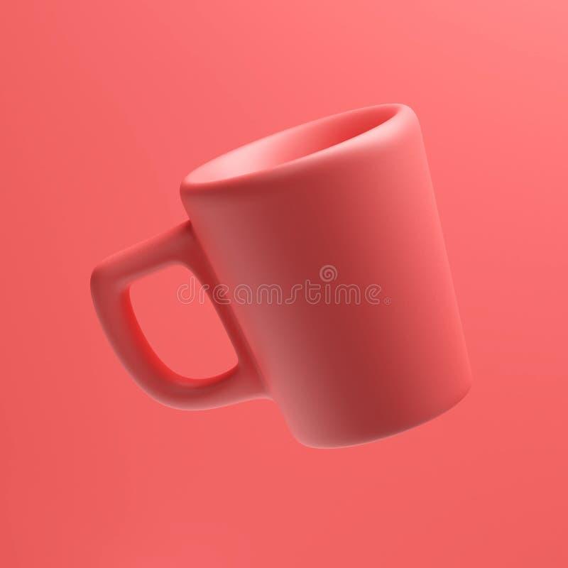 Coral Colored Mug cerâmica, 3d rendição, copo de café fotos de stock royalty free