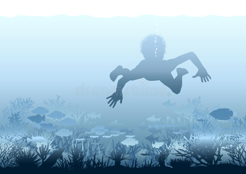 Coral discovery. Editable illustration of a boy swimming over a coral reef royalty free illustration
