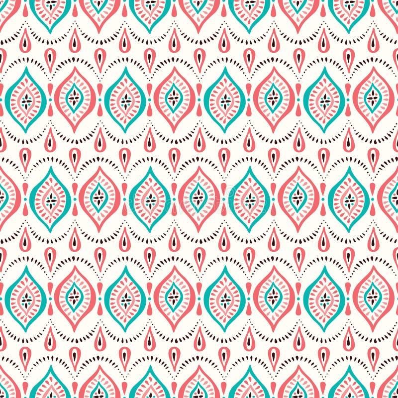 Coral e Aqua Handdrawn Lace Pattern coloridos com diamantes e pontos Fundo sem emenda do vetor elegante cl?ssico ilustração do vetor