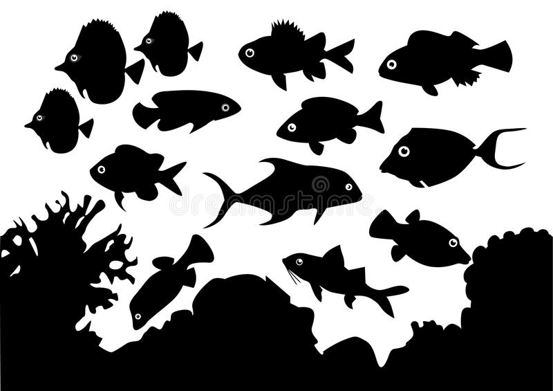 Coral Fish. Black silhouettes of fish living in a sea of coral vector illustration
