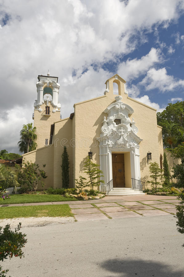 Coral Gables Congregational United Church of Christ. Near the Biltmore Hotel royalty free stock photo