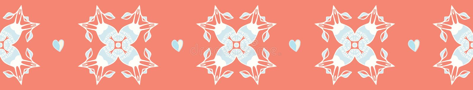 Coral geometric damask hand drawn seamless vector border. All over print with peach blue style hearts. Illustration for textiles, St Valentines Day, weddings royalty free illustration