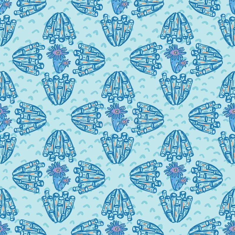 Coral Geometric Ocean Aqua azul y roja ilustración del vector