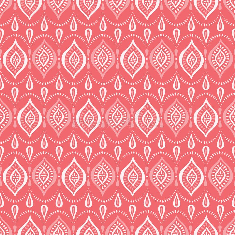 Coral Handdrawn Lace Pattern monocromática com diamantes e pontos Fundo sem emenda do vetor elegante cl?ssico ilustração royalty free