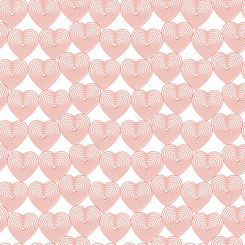 Coral hearts on the white background. Hearts in abstract linear style_Vector seamless pattern. royalty free illustration