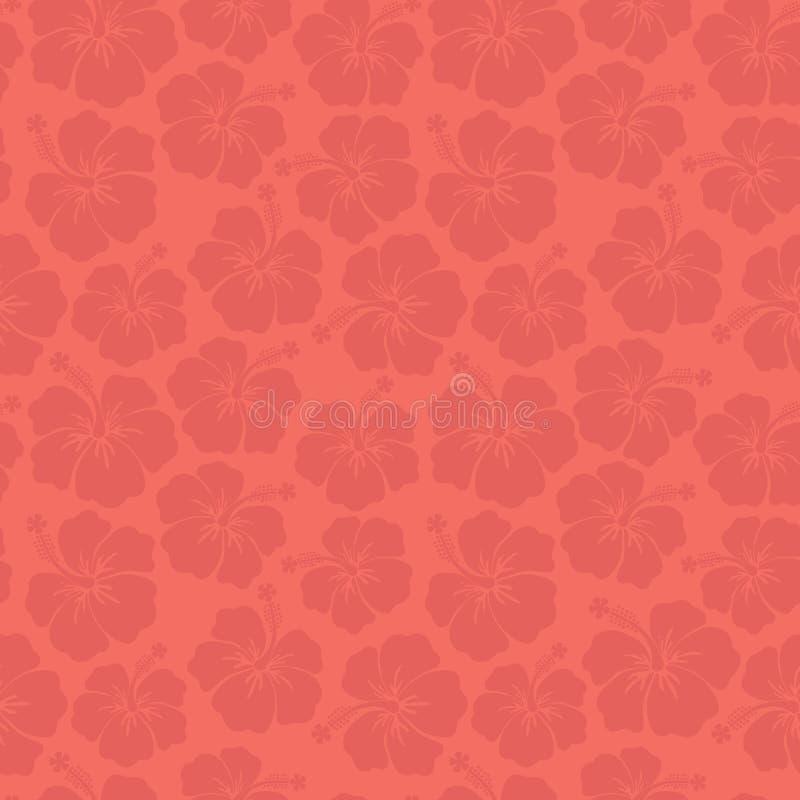 Coral Hibiscus bloeit naadloos vectorpatroon De bloemenachtergrond van de tendenskleur Subtiele vrouwelijke achtergrond Voor text royalty-vrije illustratie