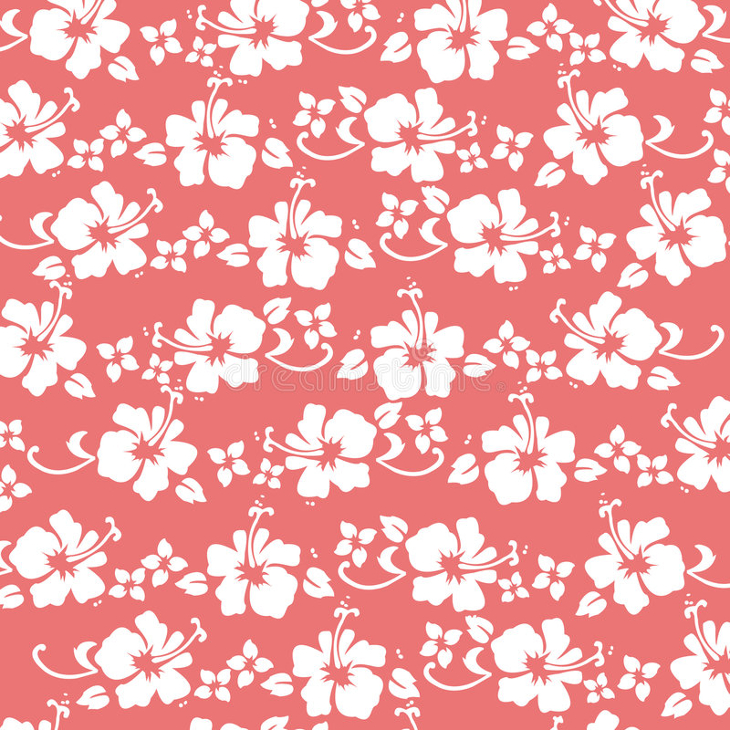Coral hibiscus pattern stock illustration