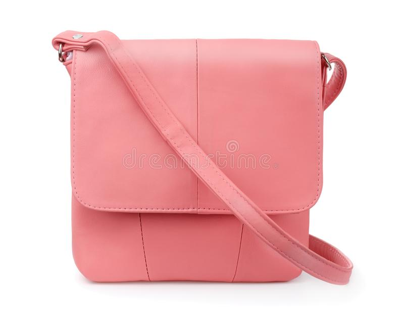 Coral leather handbag royalty free stock image