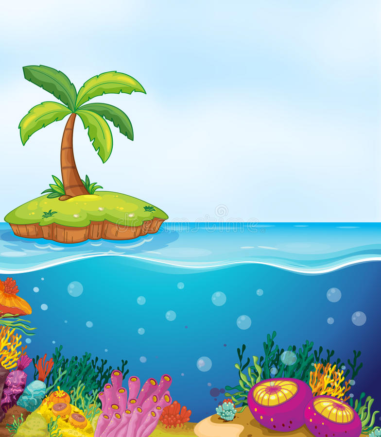 Coral and palm tree on island stock illustration