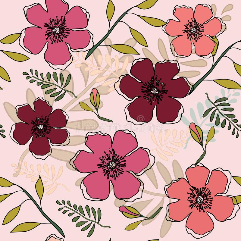 Coral, Peach & Red Flowers in Seamless Pattern in Vector royalty free illustration