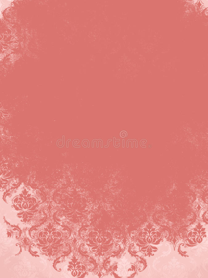 Coral Peach Vintage Damask background stock photos
