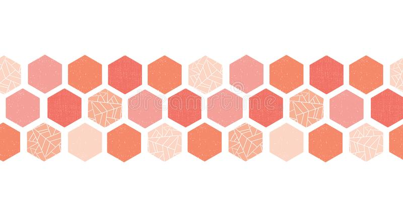 Coral pink peach hexagon seamless vector border. Geometric shapes with texture. Modern design for cards, birthday party.  vector illustration