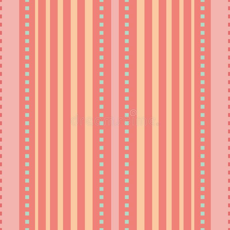Coral, pink and peach orange vertical striped design with tiny blue squares. Seamless vector seamless pattern. Great for stock illustration