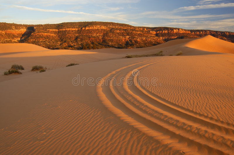 Coral Pink Sand Dunes 1. Coral Pink Sand Dunes at sunset in Coral Pink Sand Dunes State Park, Utah. Orange-pink dunes with all-terrain vehicles (ATV) (aka off stock photos