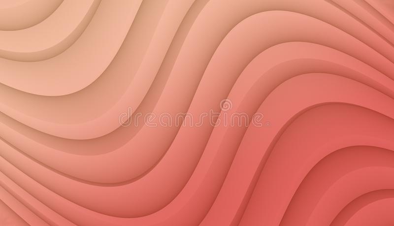 Coral Pink smooth flowing curves abstract wallpaper background design vector illustration