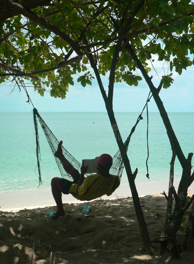 coral plażowy hamaka czytelnika fotografia royalty free