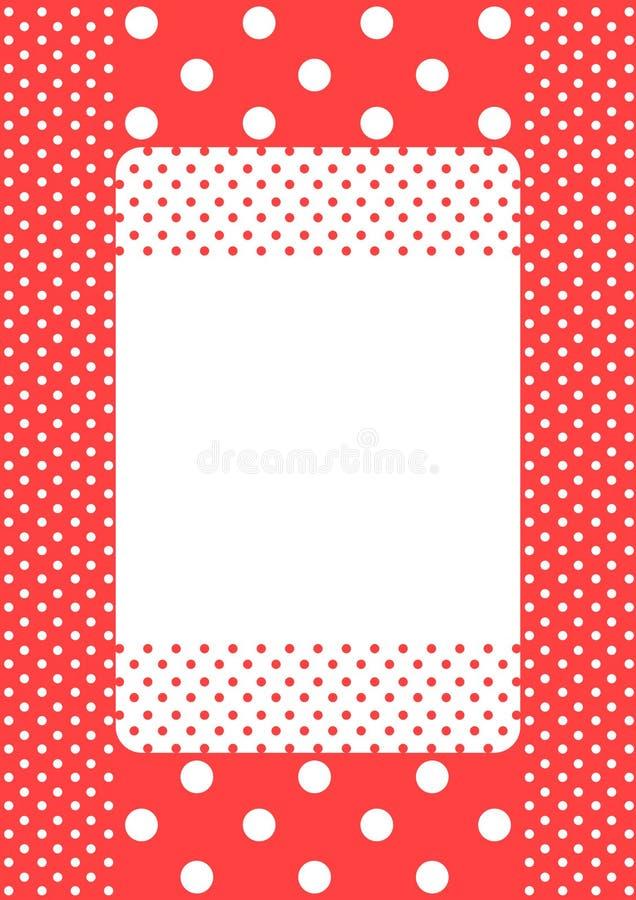 Coral polka dots frame card stock photography