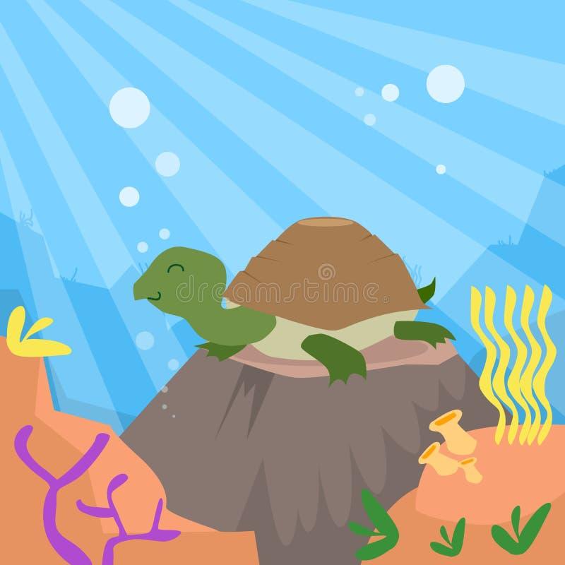 Coral profundo subacuático del fondo oceánico de la tortuga de la historieta ilustración del vector