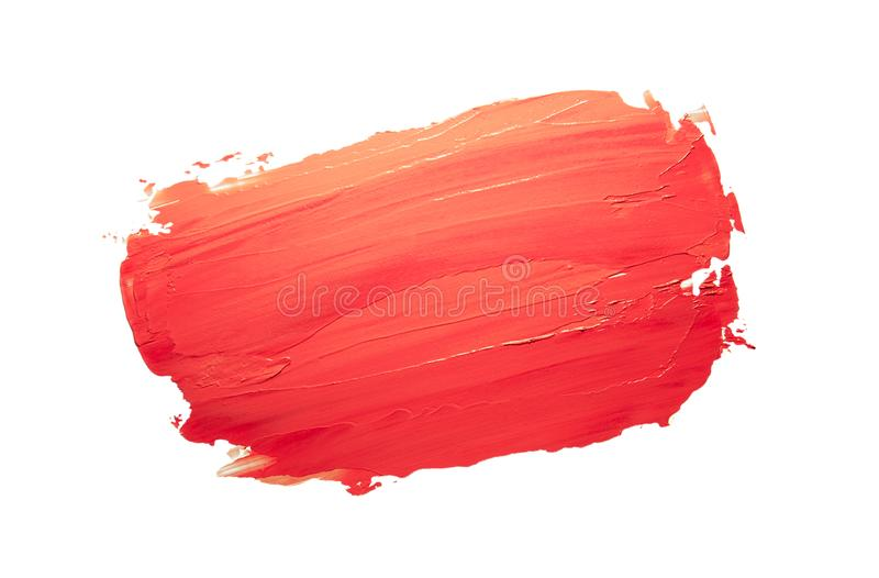 Coral red orange lipstick background texture smudge samples royalty free stock image