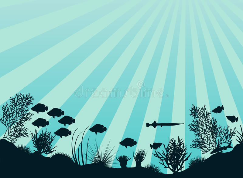 Coral reef. Editable vector illustration of an underwater coral reef scene royalty free illustration