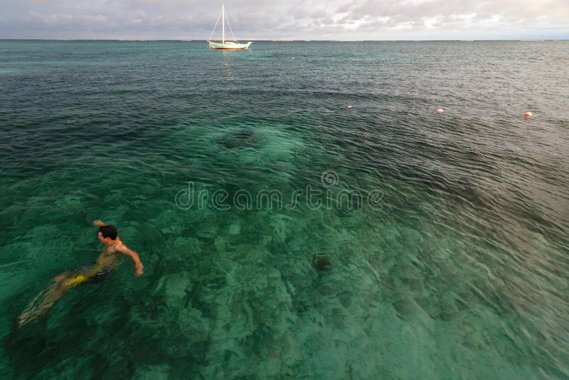 Coral Reef, Belize - December 1, 2013: De zwemmer geniet van warme duidelijke tropische wateren van de Caraïben op een zonnige dag royalty-vrije stock foto