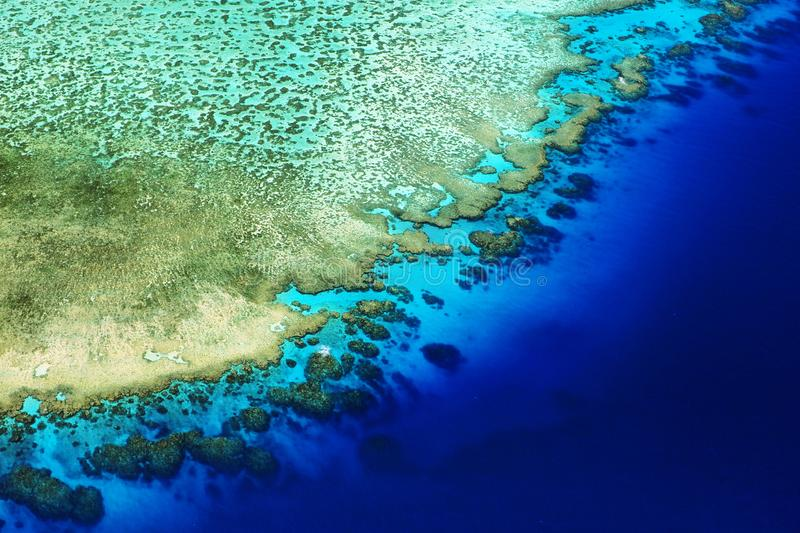 Coral reef crest meets the ocean, Great Barrier Reef, Australia royalty free stock photo