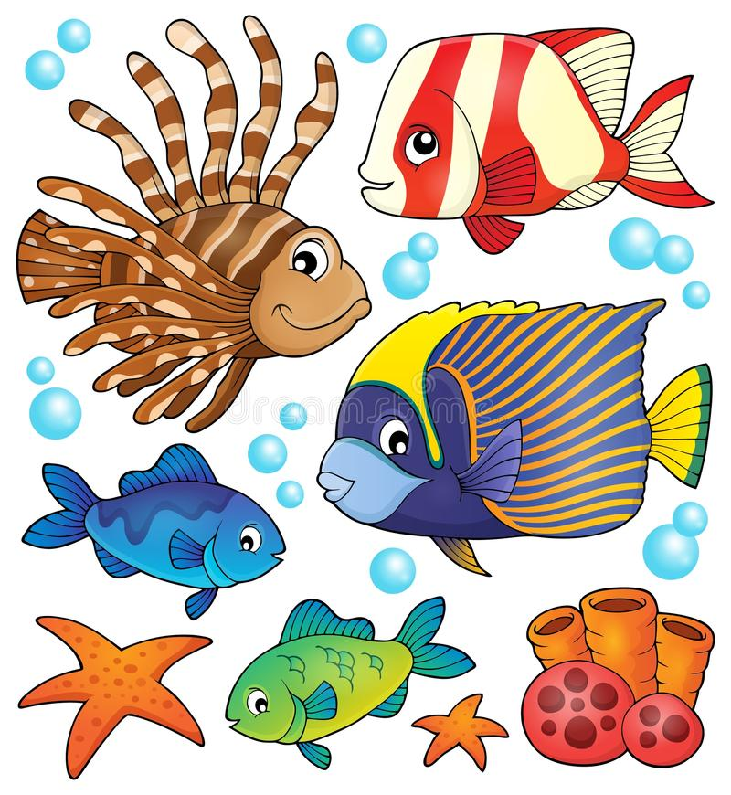 Coral reef fish theme collection 1 royalty free illustration