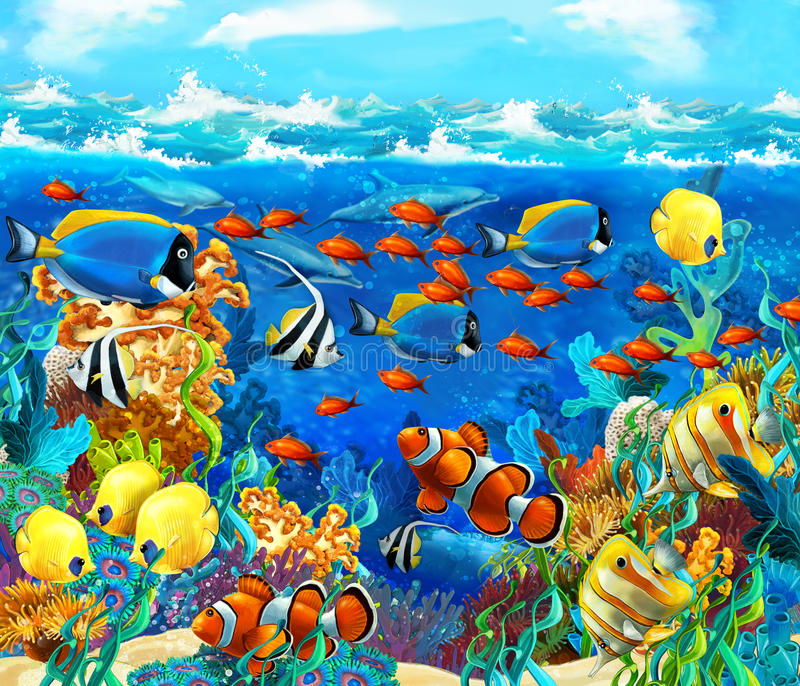 The coral reef - illustration for the children. Happy and colorful illustration for the children royalty free illustration