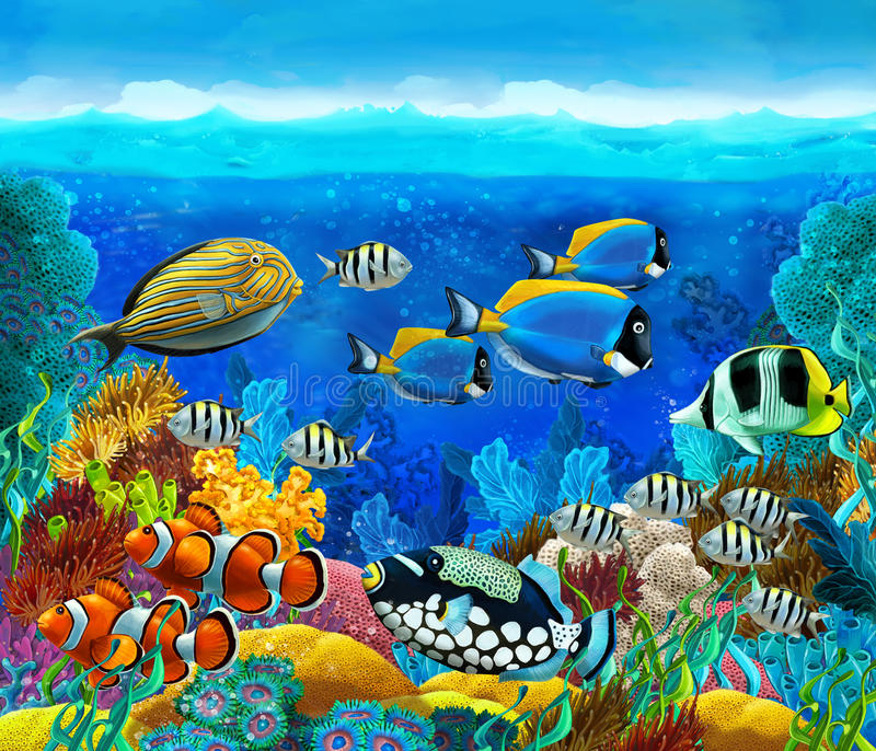 The coral reef - illustration for the children. Happy and colorful illustration for the children stock illustration