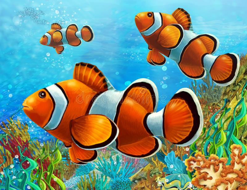 The coral reef - illustration for the children royalty free illustration