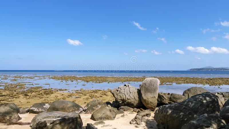 Coral reef during low tide water in the sea at Phuket island royalty free stock images